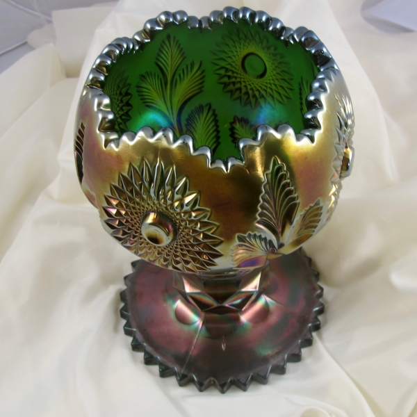 Antique Millersburg Green Hobstar & Feather Carnival Glass Giant Rose Bowl