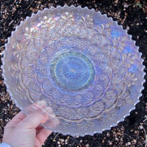 Antique Dugan White Persian Garden Carnival Glass Large ICS Bowl