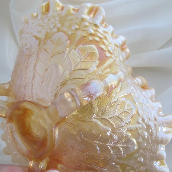 Fenton Peach Opalescent Opal Fenton's Flowers Carnival Glass Tri-Corner Bowl
