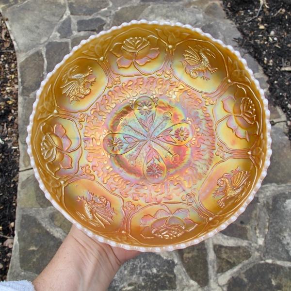 Antique Fenton Peach Opal Dragon & Lotus Carnival Glass Bowl