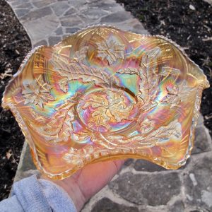 Antique Millersburg Whirling Leaves Marigold Carnival Glass Bowl
