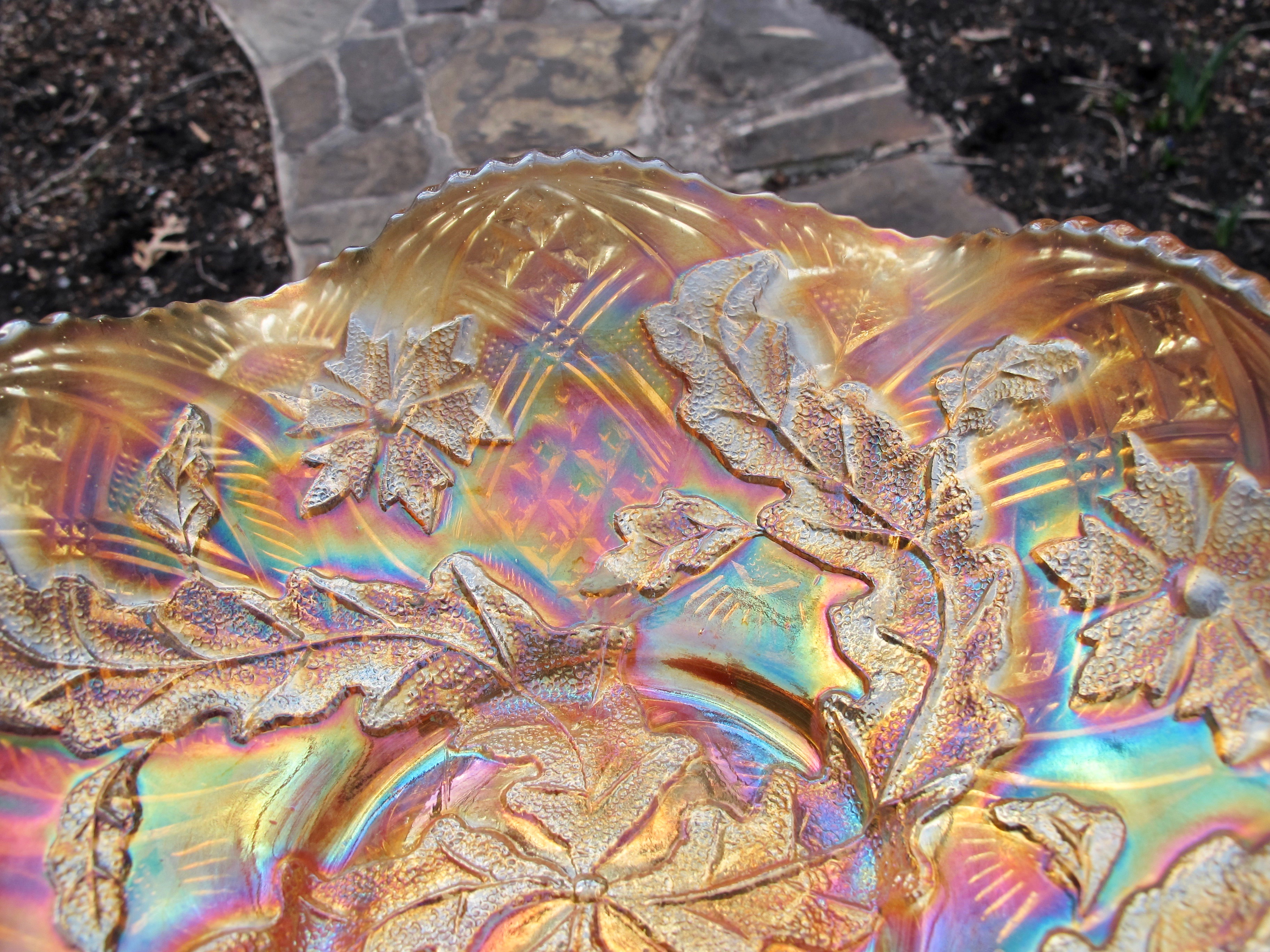 Antique Millersburg Whirling Leaves Marigold Carnival Glass Bowl Carnival Glass