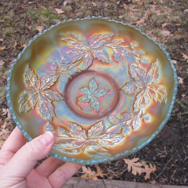 Antique Fenton Persian Blue Autumn Acorns Carnival Glass Bowl