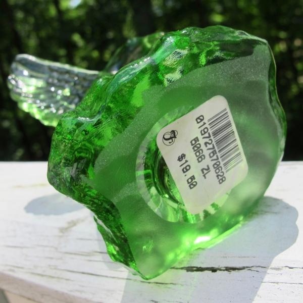 Fenton Green Art Glass Hummingbird Statue Paperweight