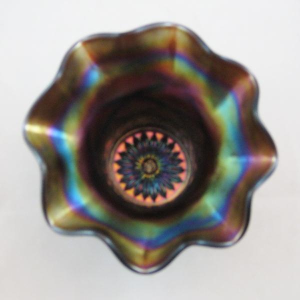 """Antique Dugan Purple Lattice & Points Carnival Glass 4"""" Hat Vase"""