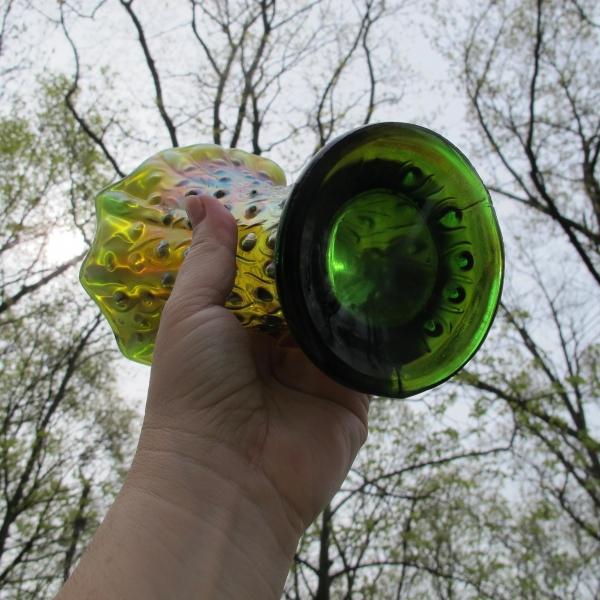 Antique Northwood Green Tree Trunk Carnival Glass Squat Vase