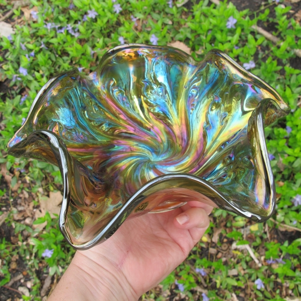 Antique Imperial Smoke Acanthus Carnival Glass Bowl
