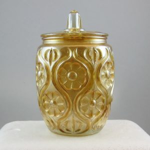 Antique Unknown Marigold Illinois Daisy Carnival Glass Covered Jar