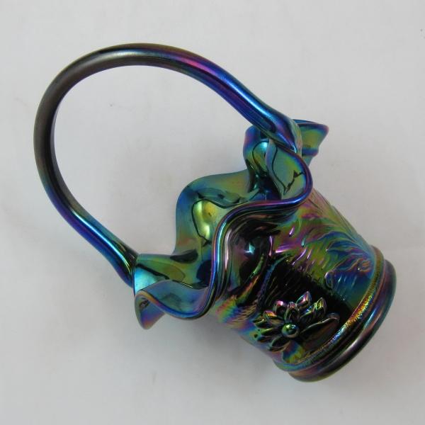 Fenton Cobalt Blue Fisherman's Carnival Glass Handled Basket