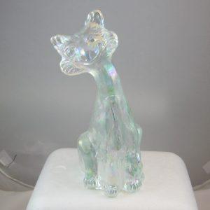 Fenton White Alley Cat Carnival Glass Figurine