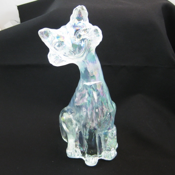 Fenton White Alley Cat Carnival Glass Figurine