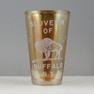 Antique McKee Jeannette Marigold Souvenir of Buffalo, N.Y. Carnival Glass Tumbler