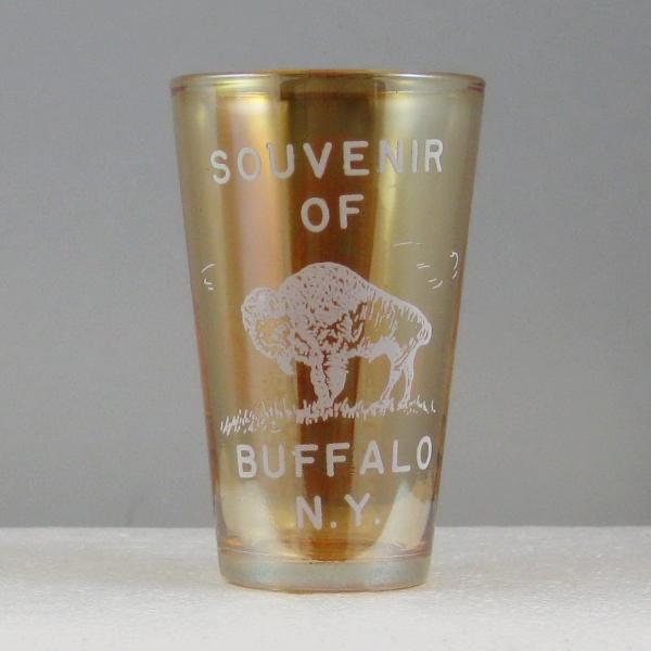 Antique McKee Jeannette Marigold Souvenir of Buffalo, N.Y. Carnival Glass Tumbler