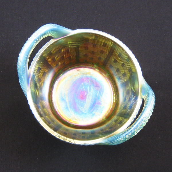 Antique Northwood Aqua Opal Rib Handled Bushel Basket