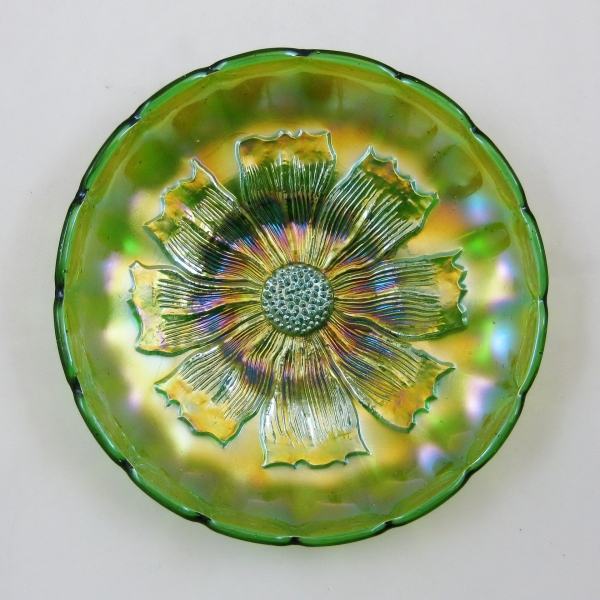Antique Millersburg Green Cosmos Carnival Glass Bowl