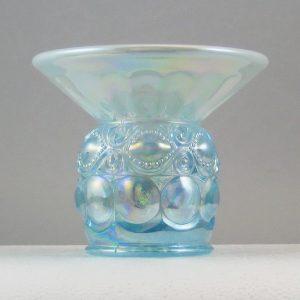 Mosser Green Opal Eyewinker Carnival Glass Spittoon Vase