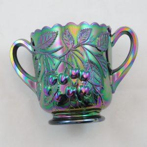 Fenton Amethyst Hanging Cherries Carnival Glass Open Sugar Bowl
