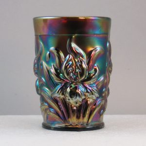 Antique Dugan Amethyst Heavy Iris Carnival Glass Tumbler