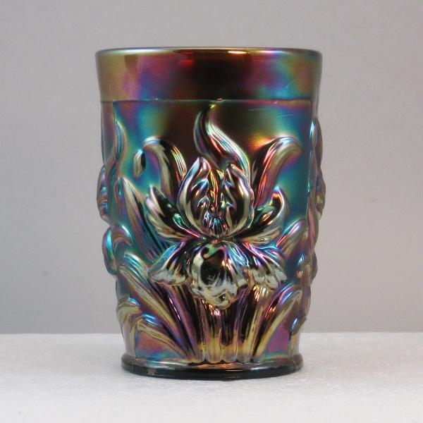 Antique Dugan Amethyst Heavy Iris Carnival Glass Tumbler