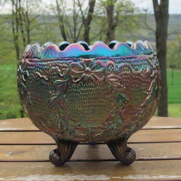 Antique Fenton Garland Blue Carnival Glass Nut Bowl