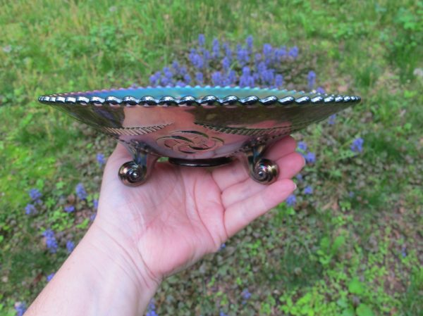 Antique Northwood Wishbone Amethyst Carnival Glass Plate
