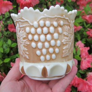 Antique Northwood Grape & Cable Custard Glass Stippled Spooner Nutmeg Stain