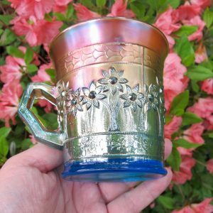 Antique Fenton Orange Tree Sapphire Blue Carnival Glass Mug