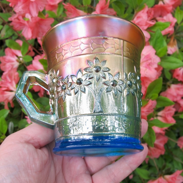 Antique Fenton Orange Tree Sapphire Blue Carnival Glass Mug