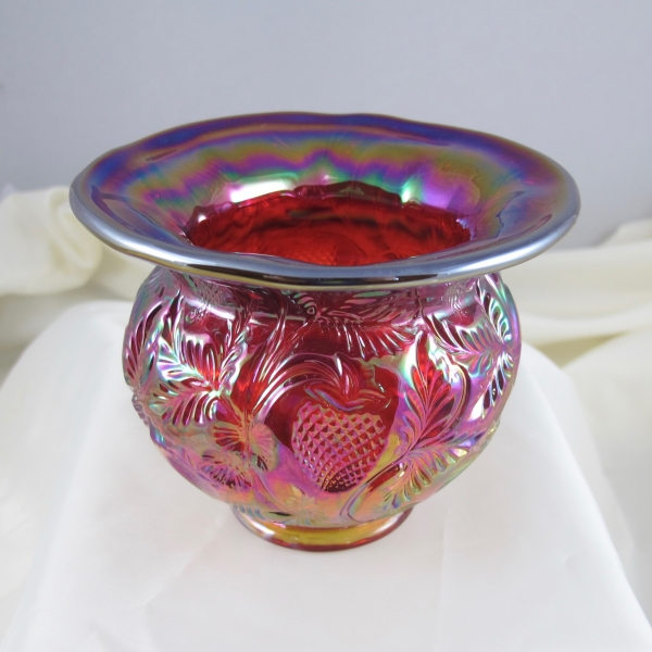 Fenton Red Inverted Strawberry Carnival Glass Spittoon