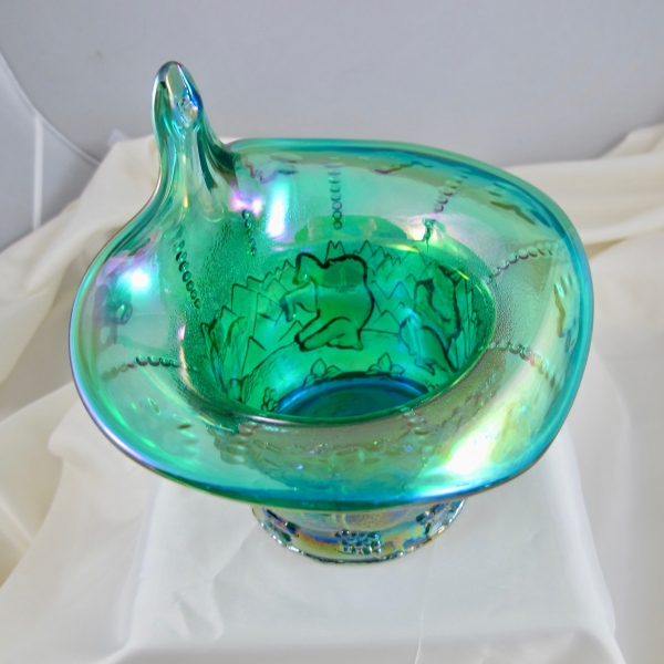 Fenton Emerald Green Frolicking Bears Carnival Glass JIP Vase – huge mouth!