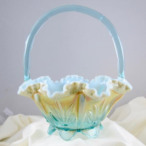 Fenton Aqua Opal Cactus Carnival Glass Basket