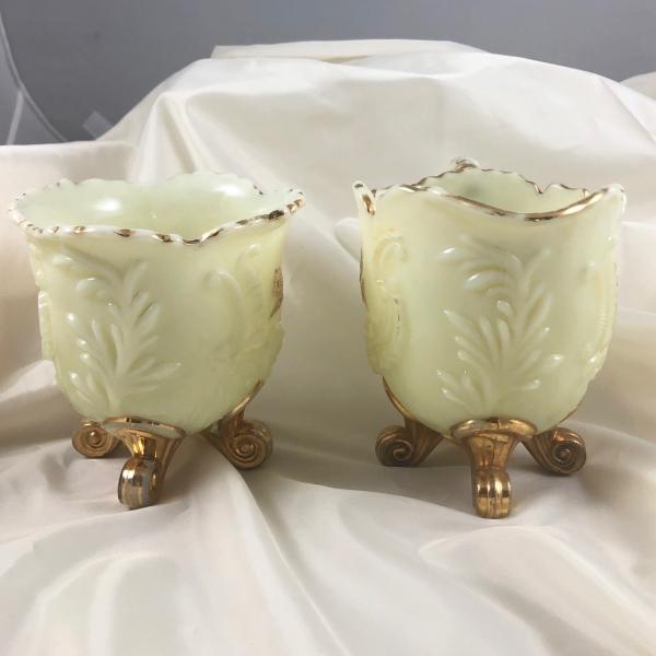 Antique Northwood Louis XV Custard Glass Creamer Sugar Table Set