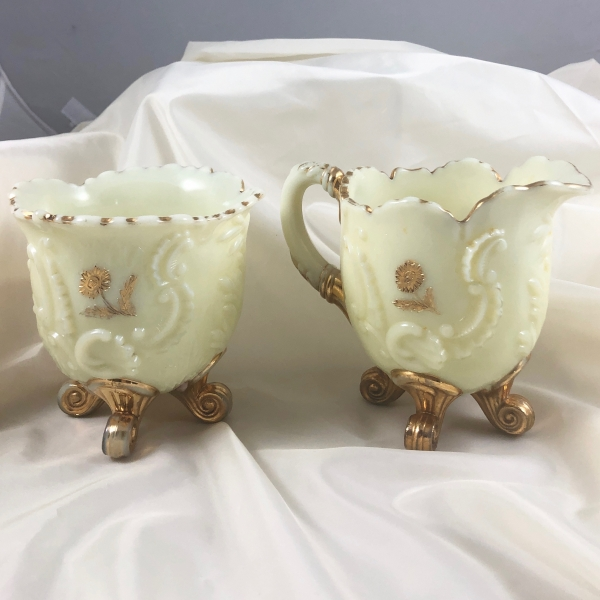 Antique Northwood Louis XV Custard Glass Creamer Sugar Table Set