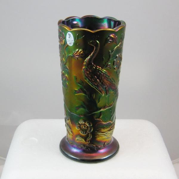 Fenton Black Amethyst #8257 Peacock Garden Carnival Glass Vase