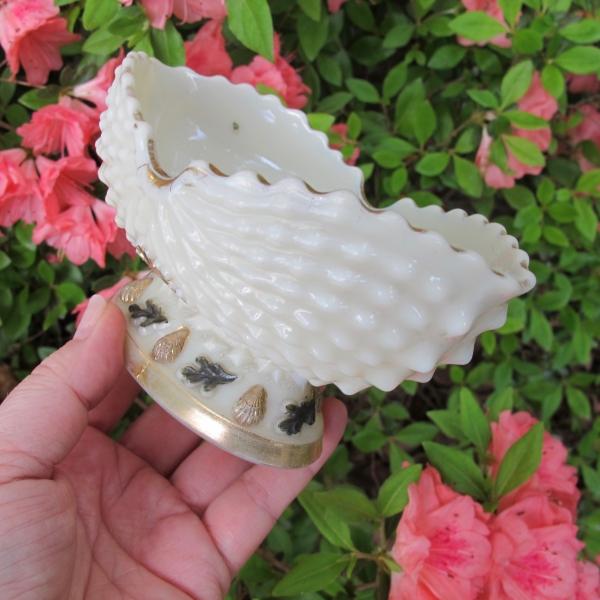 Antique Northwood Nautilus Enameled Gilt Custard Glass