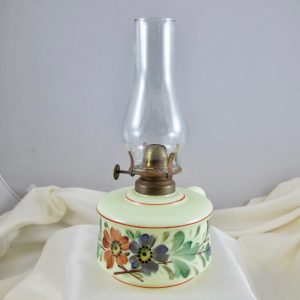 Antique English Painted Custard Art Glass Finger Lamp
