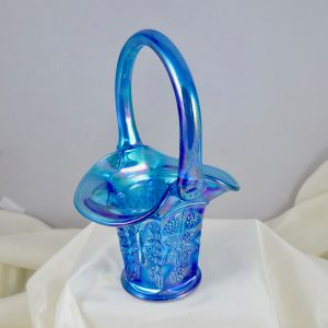 Fenton Sapphire Blue Butterfly & Berry Carnival Glass Two Sides Up Basket
