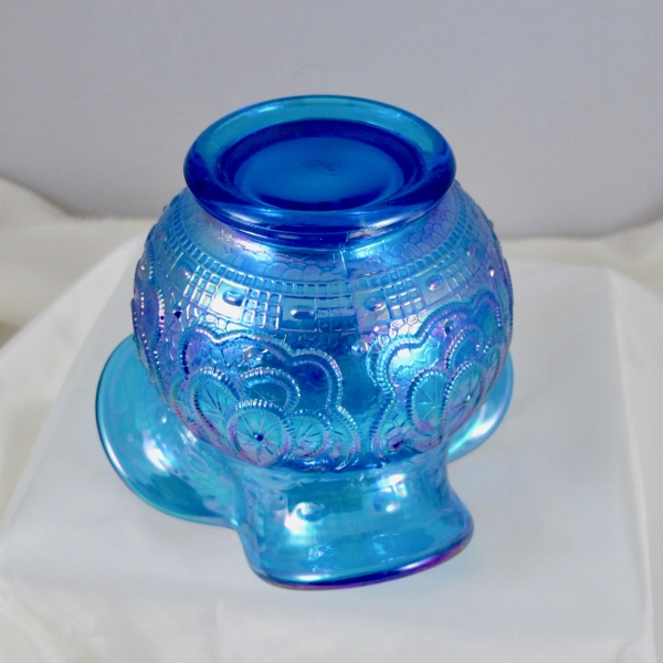 Fenton Sapphire Blue Persian Medallion Carnival Glass Tri-Corner Rose Bowl