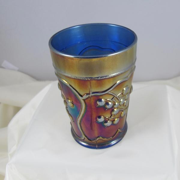 Antique Fenton Blueberry Blue Carnival Glass Tumbler