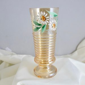 Antique Enameled Daisies Carnival Glass Water Tumbler Iced Tea Glass