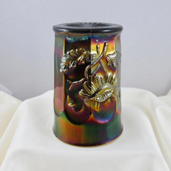 Antique Northwood Oriental Poppy Amethyst Carnival Glass Tumbler