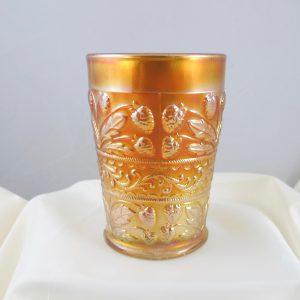 Antique Fenton Strawberry Scroll Marigold Carnival Glass Tumbler