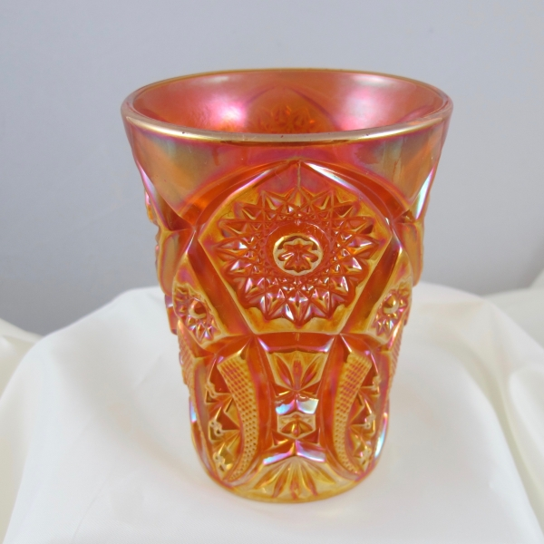Antique Imperial Crabclaw Pumpkin Marigold Carnival Glass Tumbler