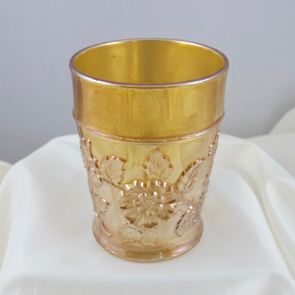Antique Dugan Rambler Rose Pastel Marigold Carnival Glass Tumbler