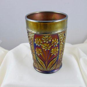 Antique Fenton Bouquet Blue Carnival Glass Tumbler