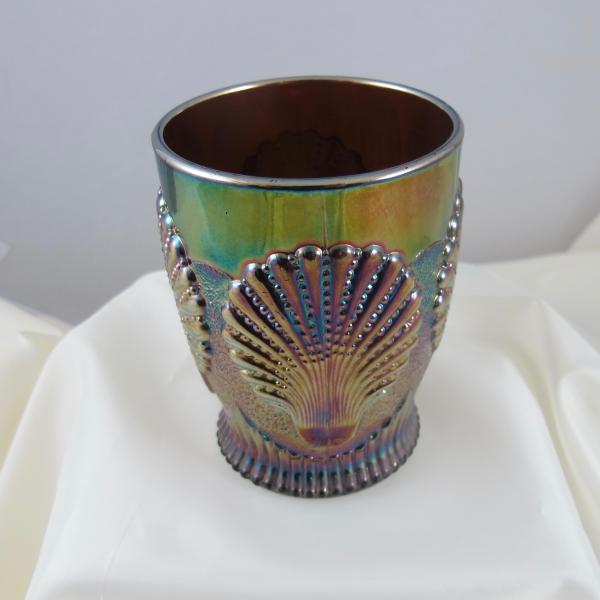 Antique Dugan Beaded Shell Amethyst Carnival Glass Tumbler