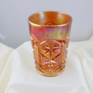 Antique Imperial Star & File Marigold Carnival Glass Tumbler