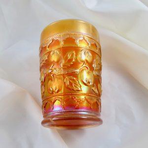 Antique Fenton Apple Tree Pumpkin Marigold Carnival Glass Tumbler