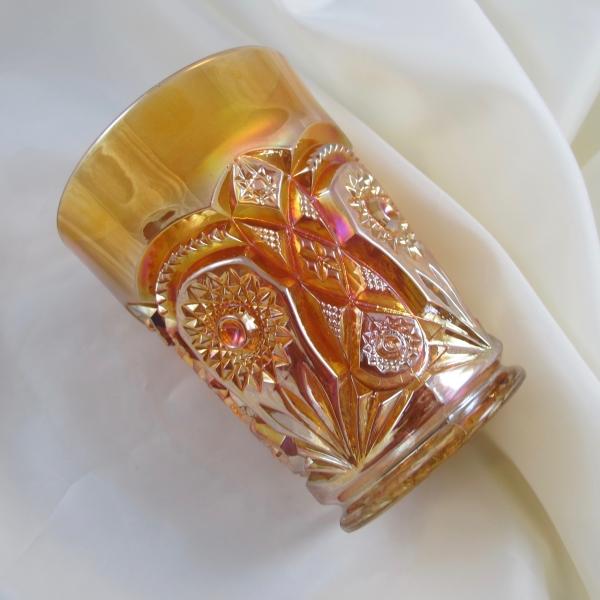 Antique Imperial Fashion Marigold Carnival Glass Tumbler