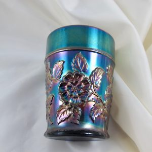 Antique Dugan Rambler Rose Electric Blue Carnival Glass Tumbler